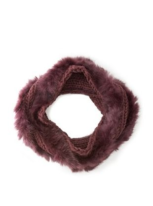 Buji Baja Women's Knit and Rabbit Loop Snood, Port