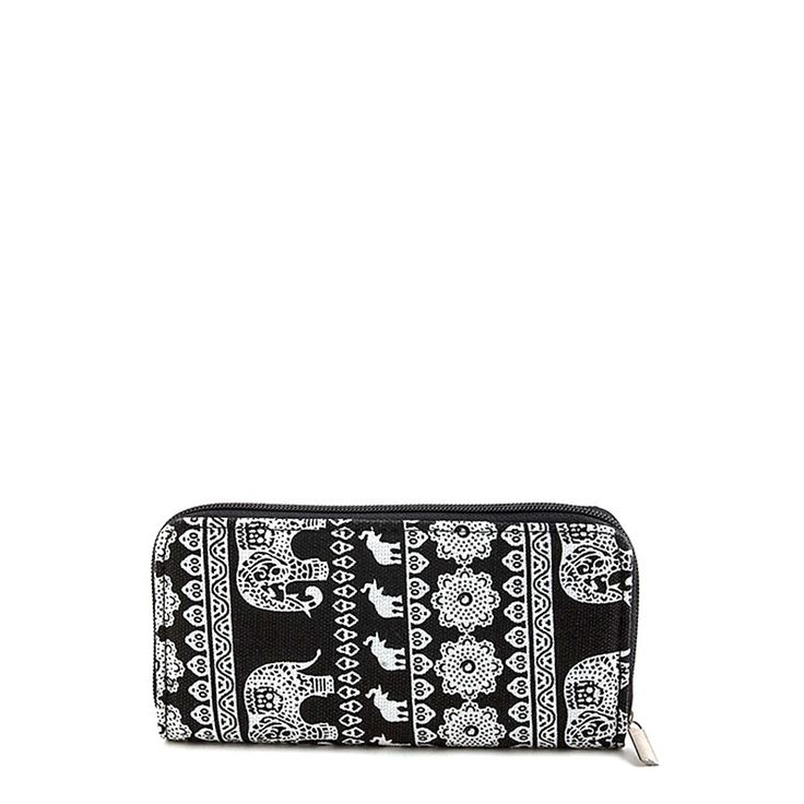 "Amazing tribal elephant motif canvas wallet with a zip closure and multiple pockets. Available in 4 colors. Approx. 8"" length x 4"" width x 1"" Deep Multi compartment Zipper closure"