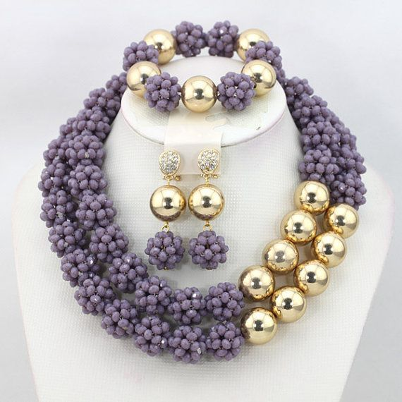 African Nigerian Wedding Crystal Beads Necklace Set,African Beaded Jewelry Set,Unique 2-Row Dark Grey Beads Ball Necklace Set.$44.8