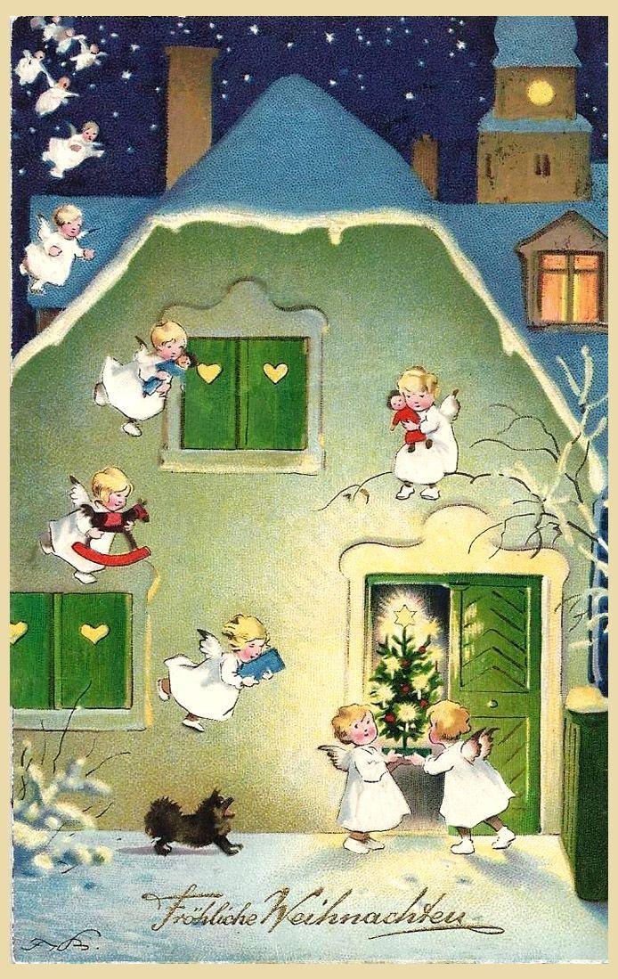 Fritz Baumgarten (German 1883-1966) - Vintage Christmas Postcard