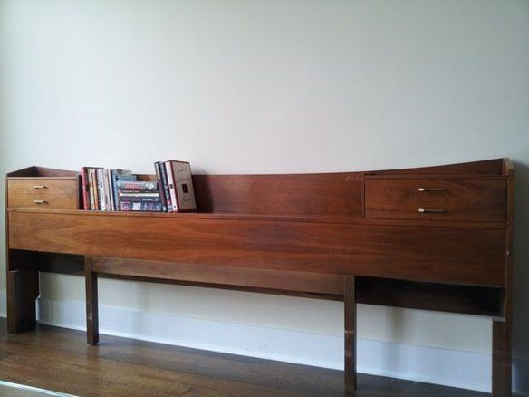 vintage midcentury modern headboard for sale could use a little tlc typical wearntear for its age solid gorgeous quality danish walnut