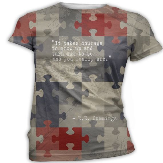EE Cummings Quote Autism Puzzle TShirt Printed by InkandRags, $29.00