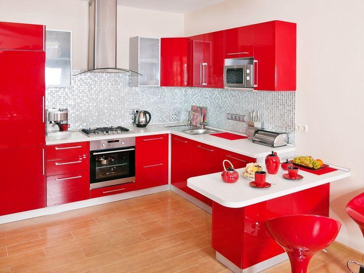 23 best cuisine images on Pinterest Kitchens, Kitchen ideas and - plan de travail cuisine rouge