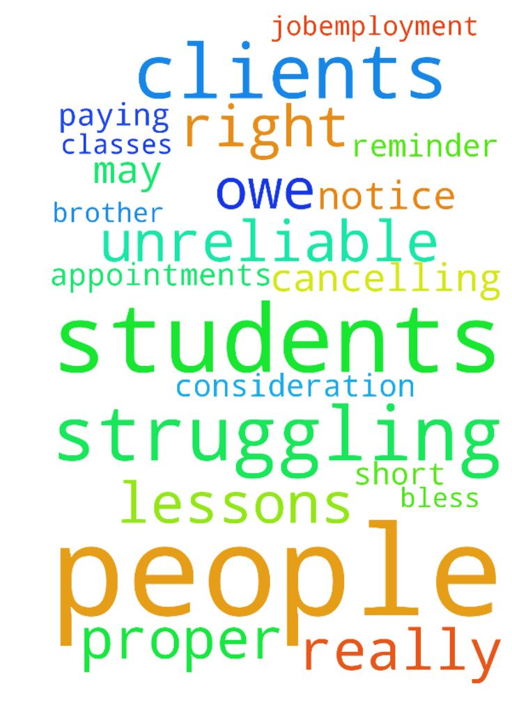 I am struggling with some people, clients and students - I am struggling with some people, clients and students being unreliable by cancelling classes, lessons and appointments at very short notice, and not paying what they owe. May they do what is right with no further reminder. I really need Gods help and your prayers for more consideration and a proper jobemployment for both my brother and myself. Amen. God bless you. Posted at: https://prayerrequest.com/t/FLV #pray #prayer #request…