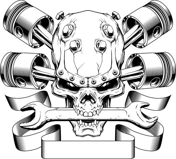 Pistons Crossed Skull Wrench Engine Car Auto Biker Mechanic