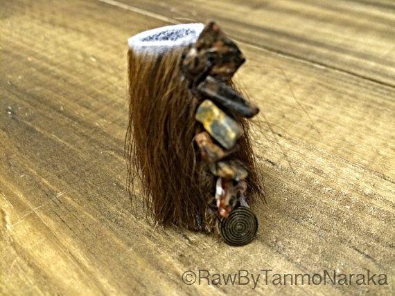 Cowhide dread locks bead with Leopard Skin Jasper Gemstones and Bronze Tribal charm