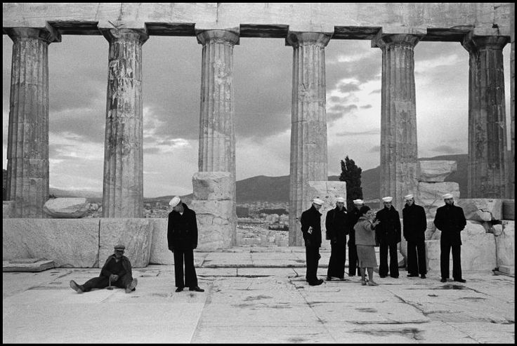 Leonard Freed. GREECE. Athens. 1962. US sailors on a tour of ruins.