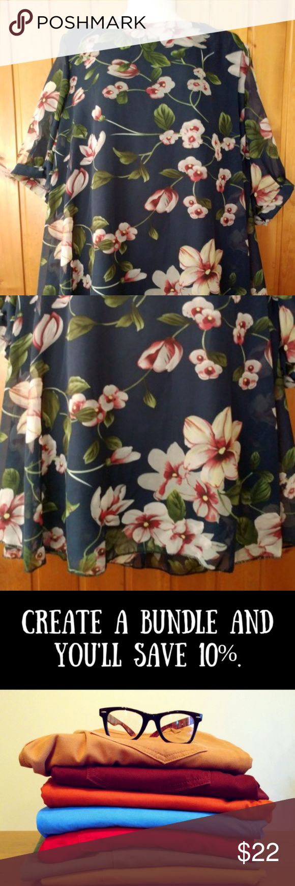 Navy Floral Plus Size Sheer Top with Lining 2X Florals are IN this year and this beautiful top will look great in your closet! This navy blue floral top is sheer with a lining underneath. The sleeves have a button cuff.  Brand: Highness Size: 2X  Measurements Chest: 24 inches Waist: 26 1/2 inches Hips: 30 inches Length: 31 inches Sleeves: 7 inches  Bundle with at least 1 other item in our closet for a 10% discount and save on shipping. All items ship from a smoke free home. Highness Tops…
