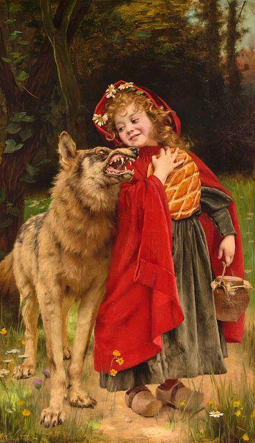 Gabriel Joseph Marie Augustin Ferrier (French, 1847-1914), Little Red Riding Hood Wolf Fairy Tale