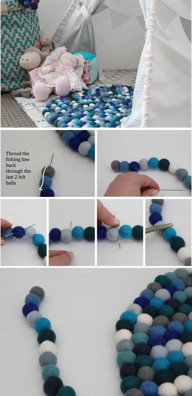 Easy DIY Felt Ball Rug Projects by DIY Ready at http://diyready.com/diy-projects-with-felt-balls/ ‎