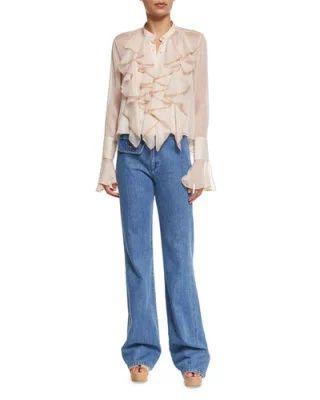 -6V6P See by Chloe  Long-Sleeve Sheer Chiffon Ruffle Blouse, Powder Stretch Denim High-Rise Flare Jeans, Washed Indigo