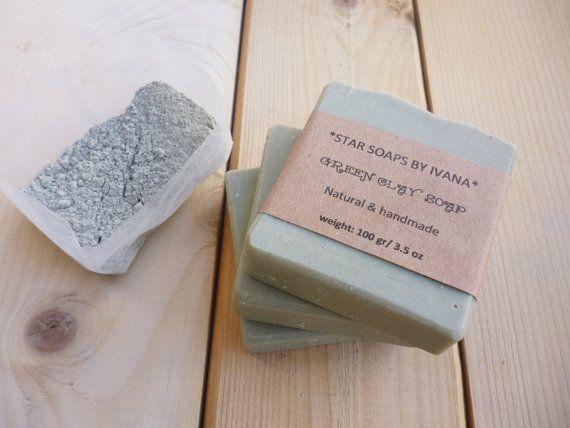 GREEN CLAY SOAP  Green clay Soap Bar with by StarSoapsbyIvana