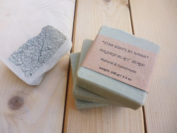 GREEN CLAY SOAP  Green clay Soap Bar with by StarSoapsbyIvana