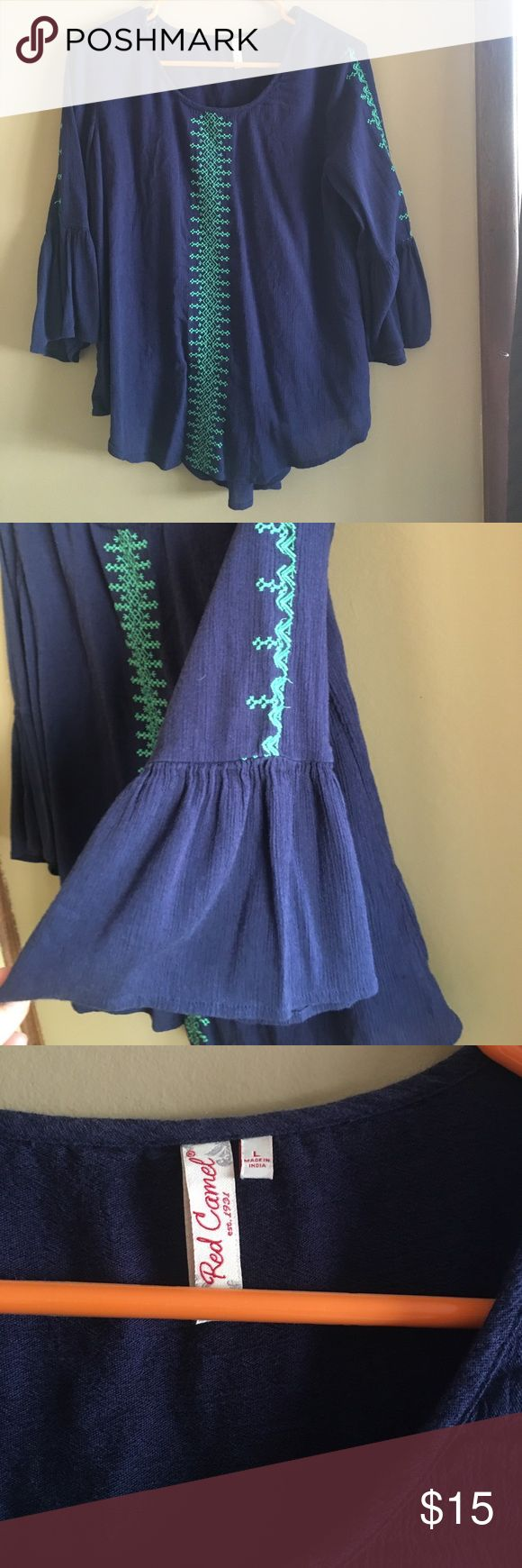 BNWOT flowy navy blue and green blouse Size: large. Brand: Red Camel. 🔹 brand new without tags. Bell sleeve. Navy blue and green. Pretty stitching detail. Light weight. Red Camel Tops Blouses