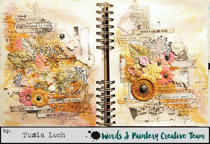 Art-Journal spread with 7 Dots Studio and Finnabair products - details on the blog.