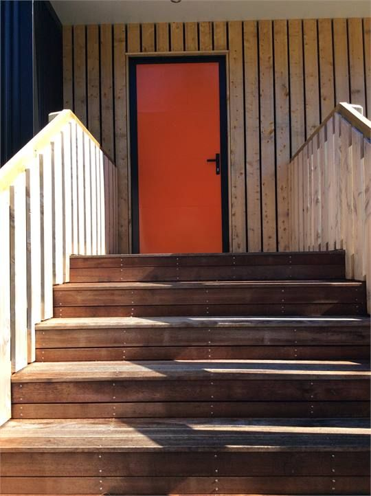The house with the orange door