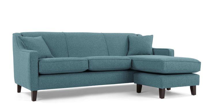 Halston, large canapé d'angle, canard tissé