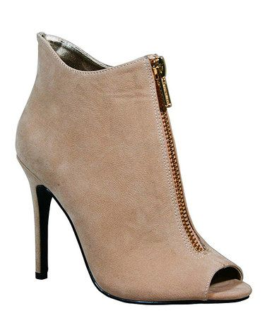 Loving this Nude Zip-Up Peep-Toe Bootie on #zulily! #zulilyfinds