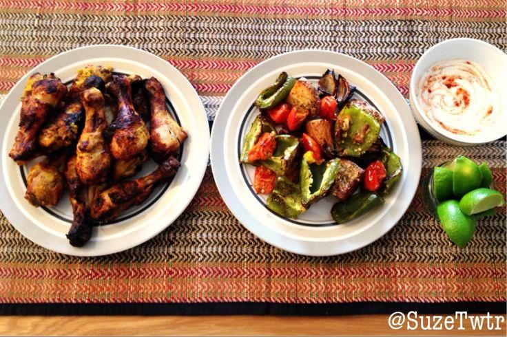 Tandoori chicken  roasted vegetables - a Sunday roast with a twist.