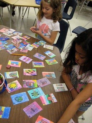 """artist trading cards.....""""art pals"""" trade with other students across the globe!"""