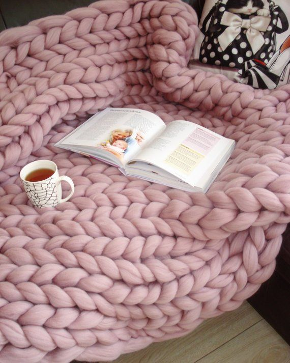 Giant Blanket 100 Merino Wool Blanket Chunky Knit Blanket