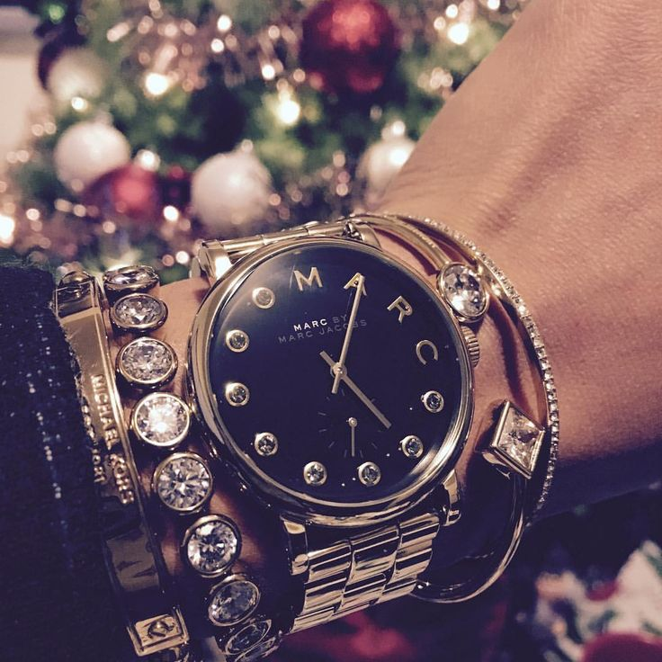 Marc Jacobs watch. Arm candy. Stacked bracelets.