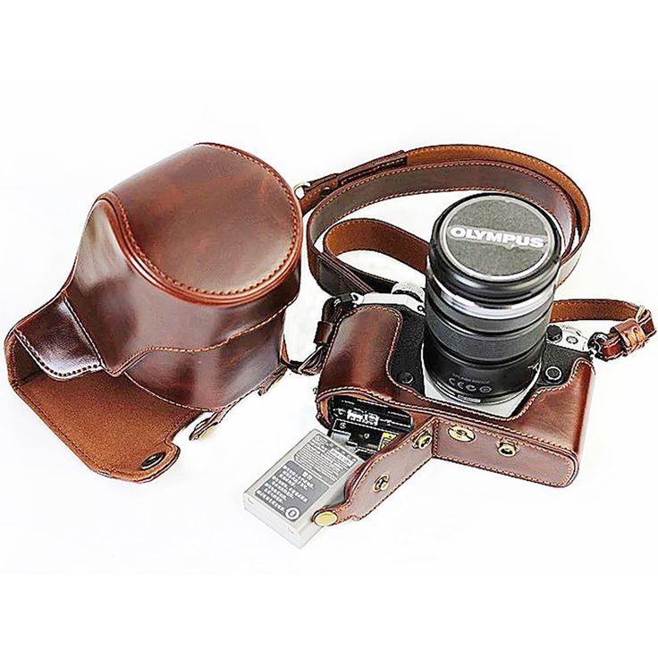 First2savvv XJD-EM5II-HH09 marrón Calidad premium Funda Cámara cuero de la PU cámara digital bolsa caso cubierta con correa para Olympus OM-D E-M5 Mark II. EM5 Mark 2 (12-40mm and 40-150mm Lenses): Amazon.es: Electrónica