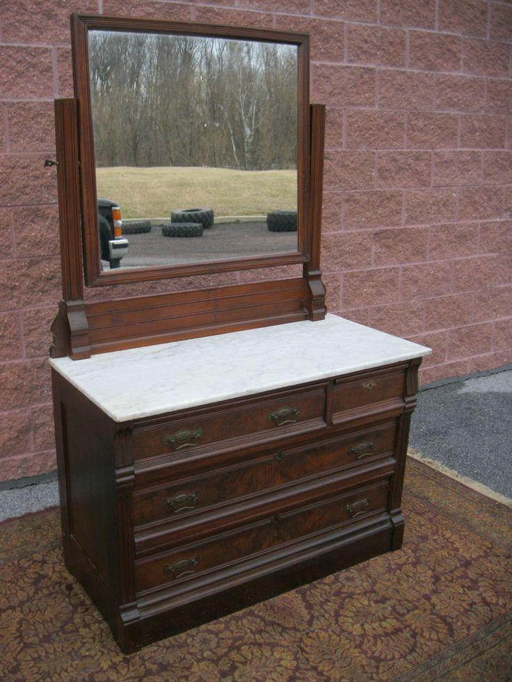 1800 S Antique Victorian Walnut Marble Top Dresser