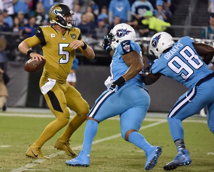 Thursday Night Football: Jaguars vs. Titans:    October 27, 2016  -  36-22, Titans   -     Quarterback Blake Bortles #5 of the Jacksonville Jaguars is pressured by Brian Orakpo #98 of the Tennessee Titans during the first half at Nissan Stadium on Oct. 27, 2016 in Nashville.