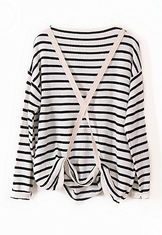 White Black Striped Long Sleeve Strap Sweater