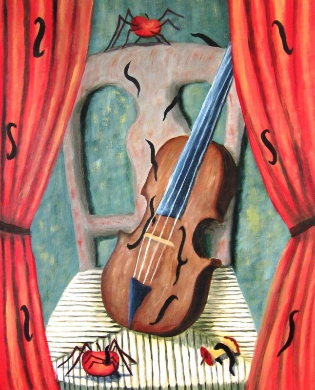 TABLEAU PEINTURE surréaliste violon pomme araignée - Violon et pommes araignée