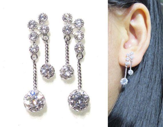 Crystal Clip On Earrings 14o Wedding Rhinestone By Boadnncraft