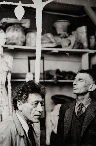"Alberto Giacometti with Samuel Beckett and tree for ""Waiting for Godot"", 1961, by Georges Pierre."