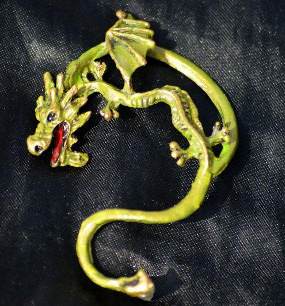 Green and Gold Dragon Ear Cuff by paulastonebuckner on Etsy, $20.00