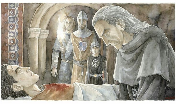 Denethor Grieves for his Son, by Anke-Katrin Eiszmann. This is a good representation of how Denethor, on the right, looked in my mind.