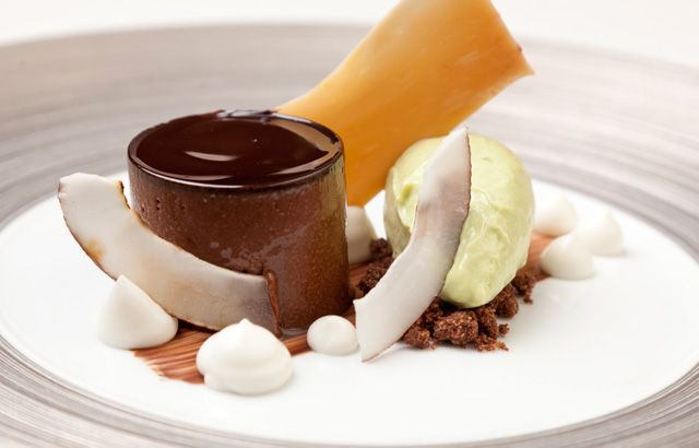 This stunning dessert from David Everitt-Matthias is a cacophony of exciting flavours, pulled together harmoniously by a rich chocolate and brown butter ganache