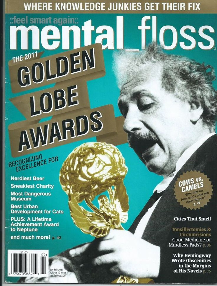 Jan/Feb 2011 Mental Floss Magazine The 2011 Lobe Awards Cows vs Camels