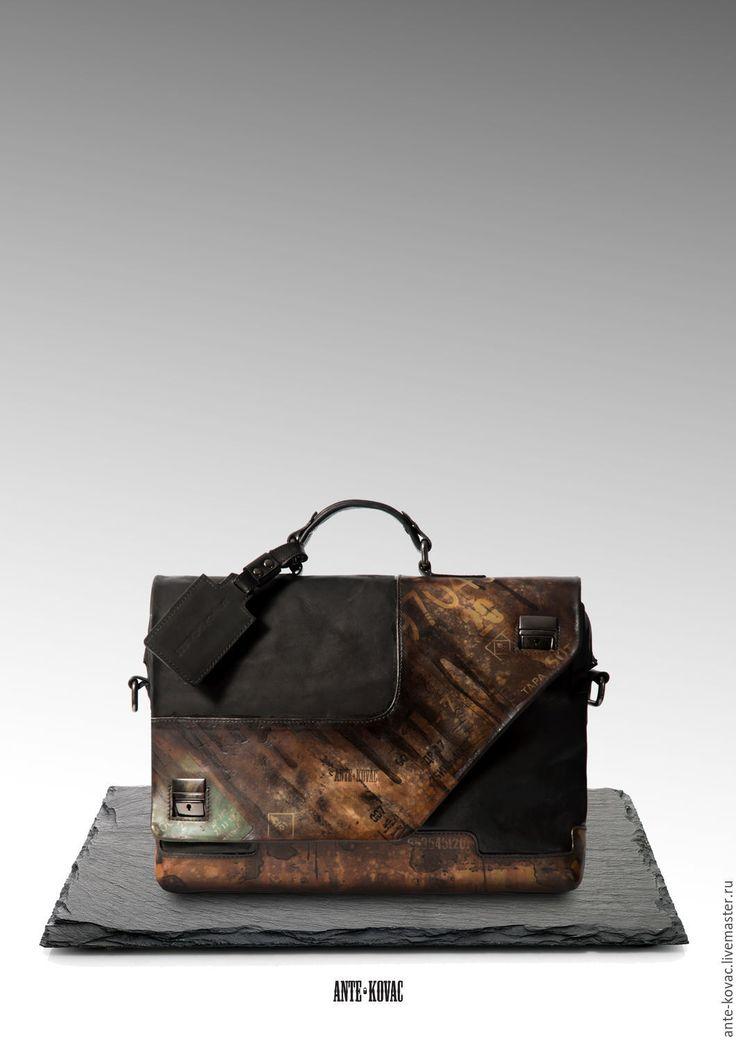 """Купить Портфель """"Нефтяного разведчика"""" - черный, однотонный, портфель, мужской портфель, кожаный портфель"""