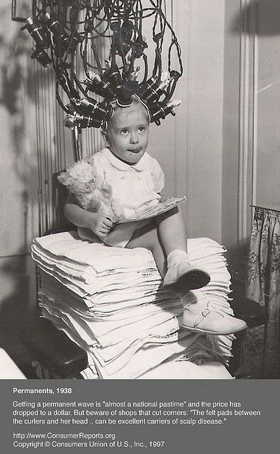 Getting a Permanent Wave 1938 [for those 'Shirley Temple' curls]