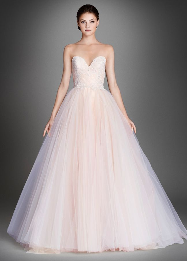 Sherbet tulle bridal ball gown strapless sweetheart for Sweetheart neckline ruched bodice wedding dress