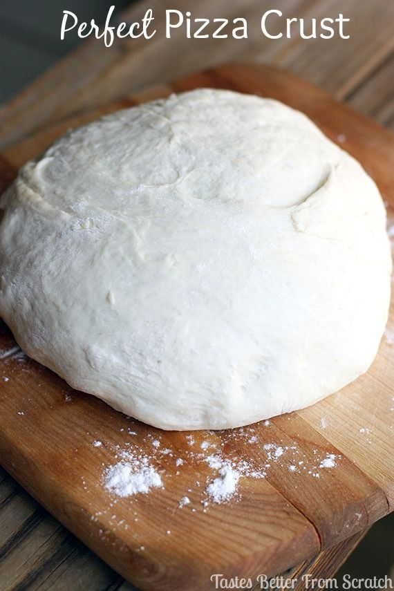 Perfect Pizza Crust recipe from TastesBetterFromScratch.com- The BEST homemade pizza crust recipe-- baked perfectly crisp on the outside and soft and airy on the inside!