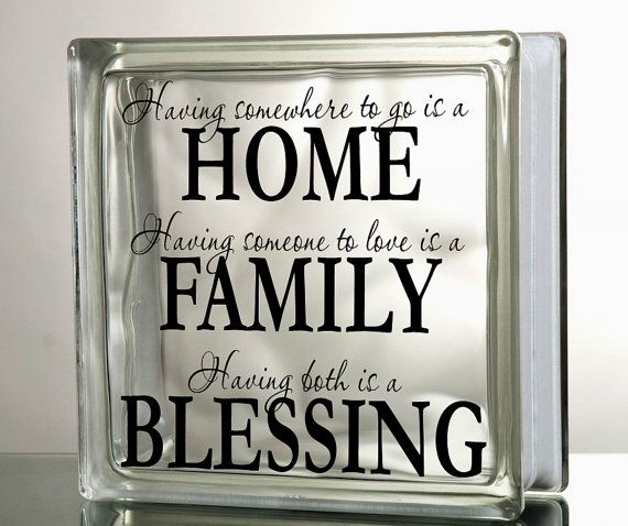 Diy Vinyl Decal Quot Family Home Blessings Quot For Glass Blocks