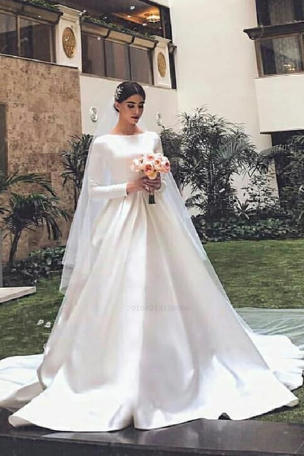White Satin Modest Wedding Dresses With Long Sleeves Wedding Dress With Sleeves White W Long Sleeve Wedding Gowns Wedding Dress Sleeves Modest Wedding Dresses