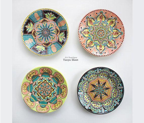 Set Of Decorative Plates Ease Of Life Feathers Wall Plates Room Decor Mandala Wall Decoration C Decorative Plates Plates On Wall Handmade Paint