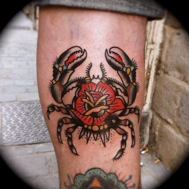 Kim-Anh Nguyen Rose-Crab, Nautical, traditional Tattoo