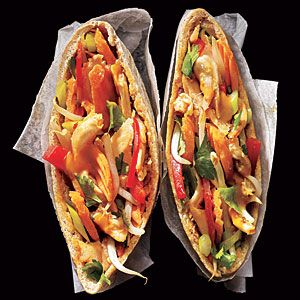 100 Super Sandwiches | Peanut-Sauced Chicken Pitas | CookingLight.com