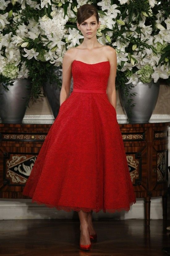 1000 ideas about red bridesmaid dresses on pinterest for Red tea length wedding dress
