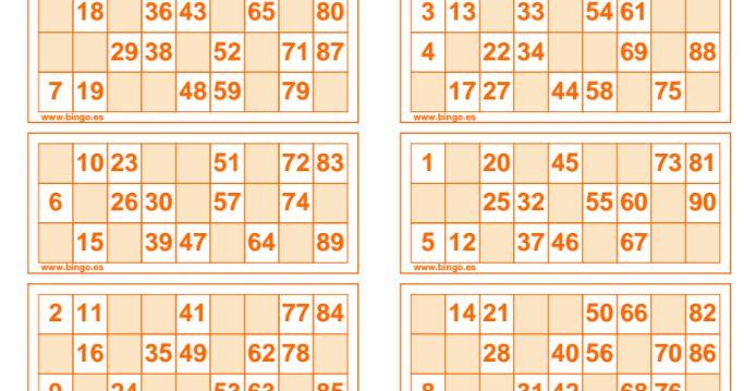 CARTONES DE BINGO PARA TRABAJAR LOS NÚMEROS HASTA EL 90 EN EUSKERA, INGLÉS, FRANCÉS, CASTELLANO....   60 CARTONES NARANJAS       60 CARTONES...