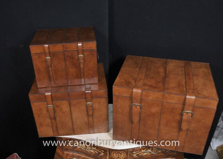 Photo Of Trio Leather Campaign Luggage Trunks Boxes Storage Side Tables
