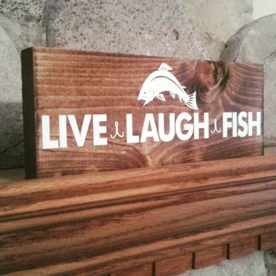 Fishing sign, pallet sign, live laugh fish, fishing decor, cabin decor, rustic sign painteddaisiesmi.com